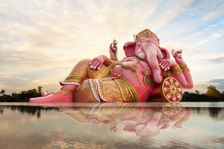 lord ganesha: Ganesha, Hindu God and sky with reflect in river