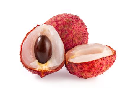 lechee: Fresh lychee on white background.
