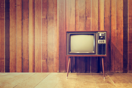 Old vintage television or tv,in vintage style 스톡 콘텐츠