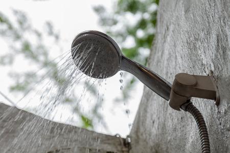 rain shower: water from rain shower at outdoor