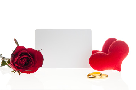 diamond rings: Red rose with  diamond rings  and blank card on white background Stock Photo