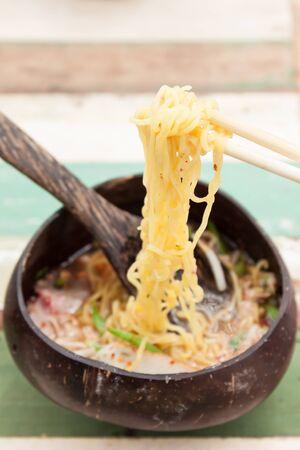 eating noodles: eating noodles with spicy.