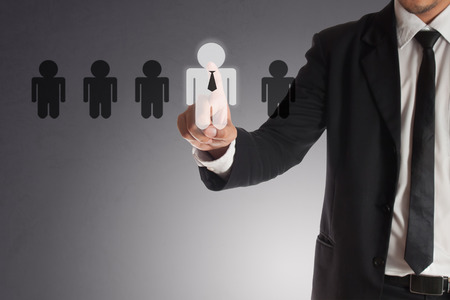 businessman choosing right partner from many candidates,Concept of teamwork.