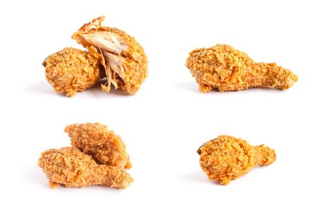 the series: Fried chicken series on white background