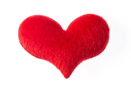 fur: Red heart made of fur  isolated on white background