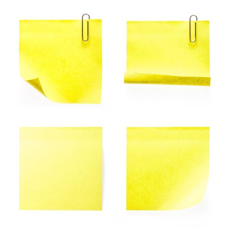 post it notes: Set of yellow post it  notes isolated on white background.