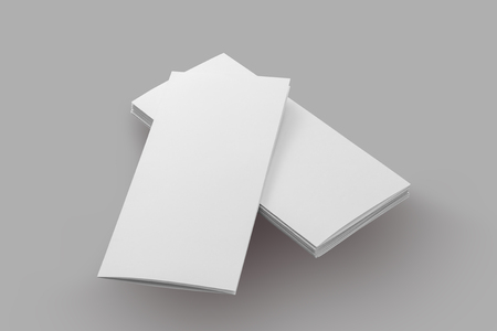 blank brochure paper isolated on grey background