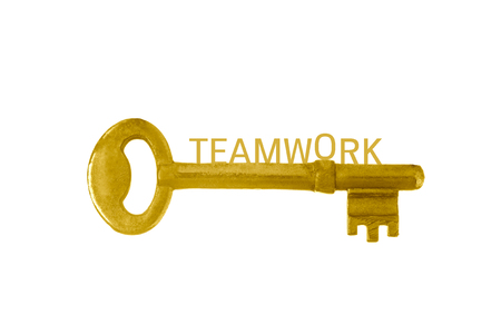 gold keys with words teamwork , business and teamwork concept.