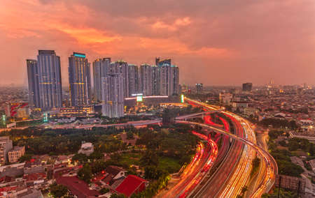 Jakarta, Indonesia - May 8, 2019 : Stunning view in the Taman Anggrek Mall in the dusk, just enjoy your golden hour