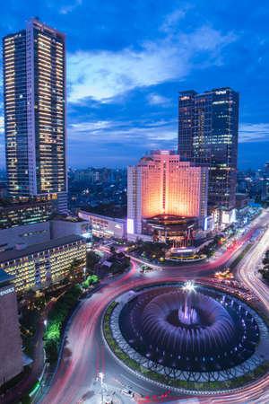 Jakarta, Indonesia - March 6, 2019 : Bundaran HI as downtown in the capital city Jakarta, it's so beautiful in the night