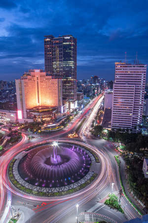 Jakarta, Indonesia - March 6, 2019 : Bundaran HI as one of the busy area in Jakarta but you can see it very beautiful in the night