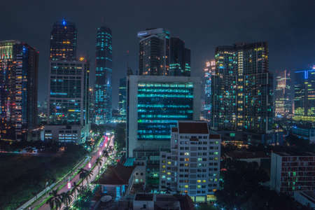 Jakarta, Indonesia - March 15, 2019 : Sightseeing the beauty of Jakarta from above at Mega Kuningan in the night