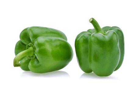 Green pepper on white background . Zdjęcie Seryjne