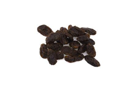 dried raisins isolated on white background.
