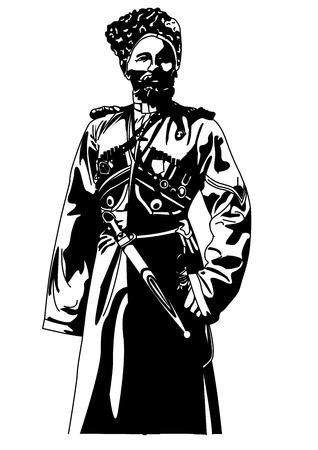 russian culture: cossack1 Black and White