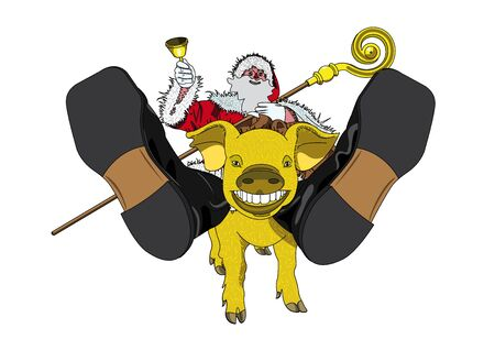 santaclaus: Santa-claus and golden pig Illustration