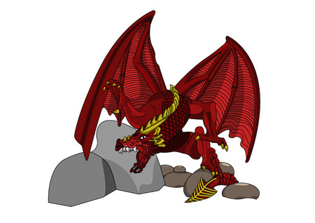 a legend of magic: Dragon on white