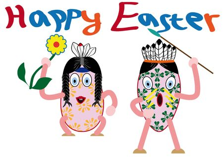 lots: Lots of beautiful large, painted, Easter eggs created as Indians Illustration