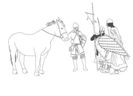 pillage: Armed Vikings in armor and on horseback