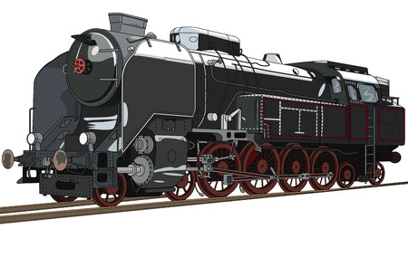 Big black steam locomotive with red bikes. Illustration