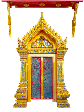 door keeper: Thai temple door and awning.The marble temple door keeper ride on