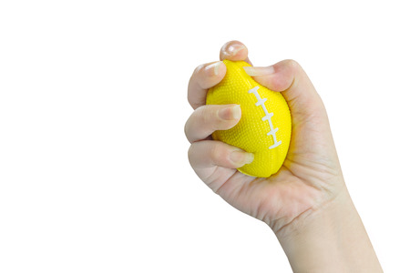 Hand squeezing stress ball                                Physical , emotional stress therapy