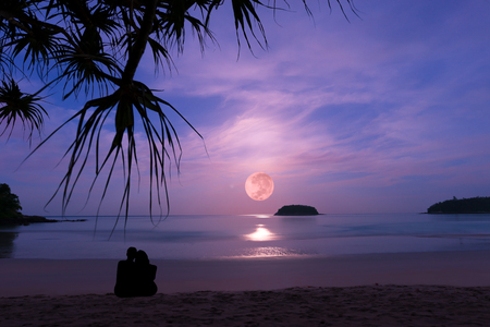 Silhouette of happy couple at luxury fullmoonset  horizon over andaman sea.Couple embracing on the beach enjoying amazing fullmoonset with palm tree in foreground ,Phuket 写真素材
