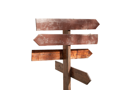 wooden direction sign on a white background 스톡 콘텐츠