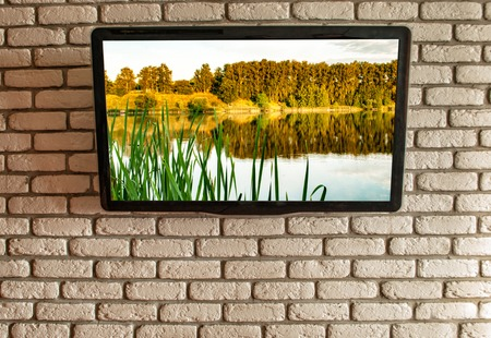 TV on the wall of decorative brick