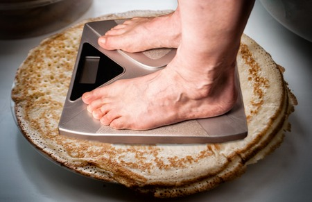 bathroom scales for weighing human weight. healthy lifestyle concept