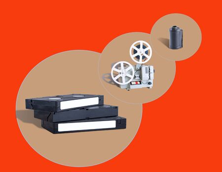 video cassettes, film projectors and film cassettes Stok Fotoğraf