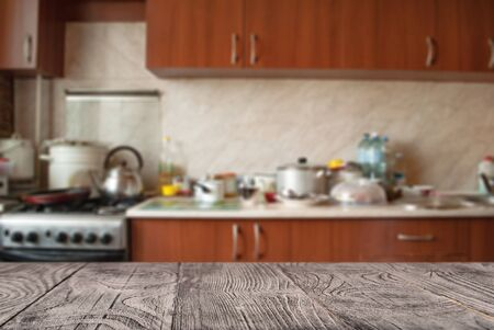 wooden surface on the background of the kitchen