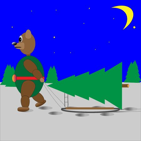 bear Christmas tree on a sled and the moon Çizim