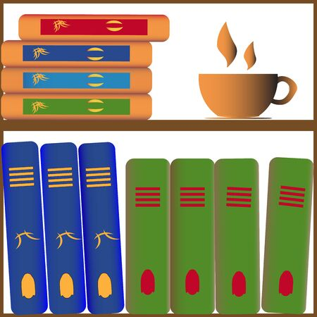bookshelf with books and cup of coffee on gray background
