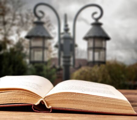 Open book on the background of street lamps
