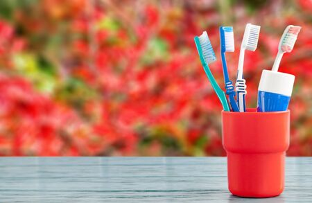 Toothbrushes and toothpaste in a red container Stok Fotoğraf