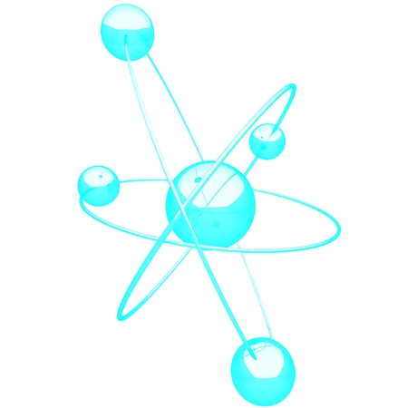 small group of objects: Three-dimensional ShinyGlowing Molecule on white background