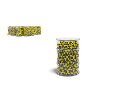 isotopes: Radioactive waste in the transparent container