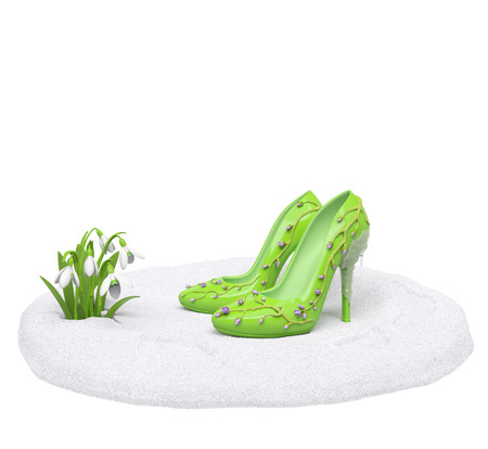Spring collection shoes on nature podium (sale, fashion, advertising, shopping creative concept). Woman high heels with sprigs (buds) and melting icicle stands on snow pedestal near the snowdrops photo