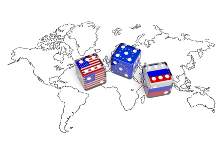 interests: Dices with flags of USA, Russia and European Union on the world map symbolize foreign affairs, summit of countries, state interests, discussion on global issues