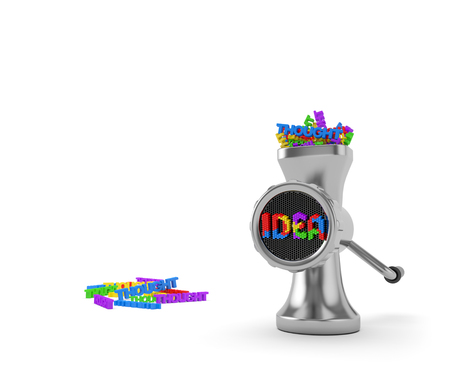 Idea concept: thoughts are transformed into ideas in the thinking process or brainstorm