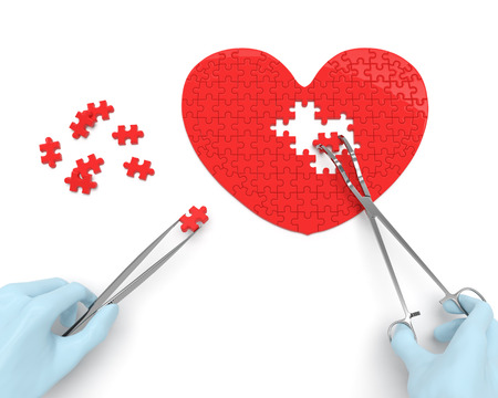 心臓外科医の手を行う心臓外科手術器具 (ピンセット ・鉗子) を用いて
