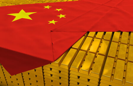 solvency: China gold reserve stock: golden bars (ingots) are covered with chinese flag in the storage (treasury) as symbol of national gold and foreign currency reserves, financial health, economic growth Stock Photo