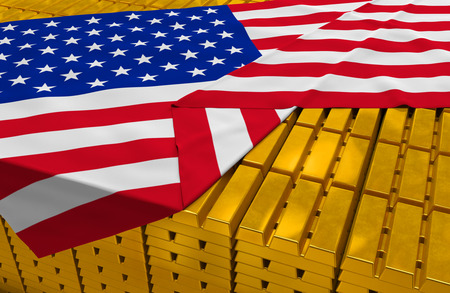 foreign national: USA gold reserve stock: golden bars (ingots) are covered with american flag in the storage (treasury) as symbol of national gold and foreign currency reserves, financial health, economic growth