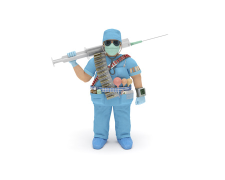 medical fight: Doctor (3d man) in full medical gear is ready to delivery of health care and fight with an illness