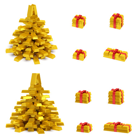 New Year (Christmas) creative concept (set). Christmas tree (spruce) and gift boxes with red ribbon in the form of golden bars (ingots, bullions) as symbol of holiday, wealth, financial success and luxury photo