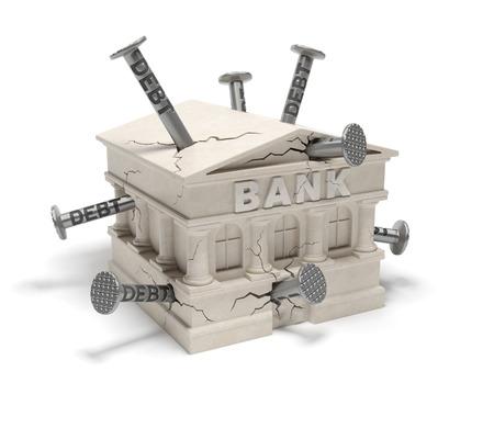 failed: Bank debts (creative concept)