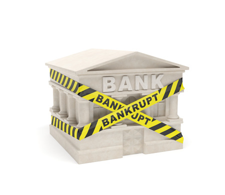 fenced in: Bank bankrupt (creative concept): banking house (building) is fenced in warning line (signal tape) with inscription (caution board) as symbol of bankruptcy, collapse of banking industry, global financial crisis, poor management (ineffective control) of fi Stock Photo