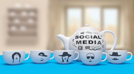 ソーシャル メディアのソーシャルネットワー キングのオンラインの創造的なコンセプト: 人間のコミュニケーションの社会的なネットワーク サー 写真素材