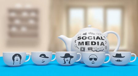 global network: Social media networking online creative concept: white cups with faces (emotions) and teapot with web icons and word as symbol of human communication on internet using social network services for exchange (share) of information (content)